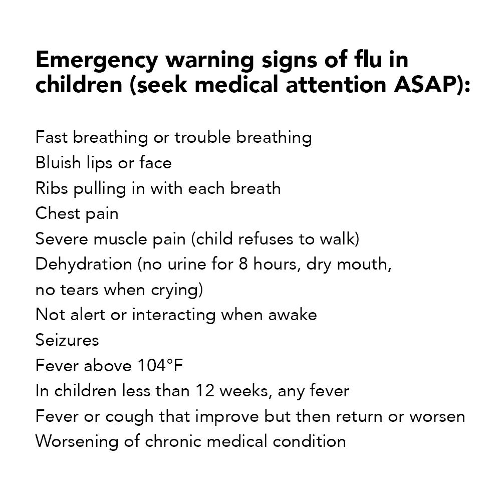 Emergency warning signs of flu in children (seek medical attention ASAP): Fast breathing or trouble breathing Bluish lips or face Ribs pulling in with each breath Chest pain Severe muscle pain (child refuses to walk) Dehydration (no urine for 8 hours, dry mouth, no tears when crying) Not alert or interacting when awake Seizures Fever above 104°F In children less than 12 weeks, any fever Fever or cough that improve but then return or worsen Worsening of chronic medical condition